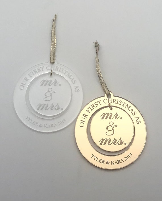 2-Piece First Christmas as Mr. & Mrs. Personalized Christmas Ornament.