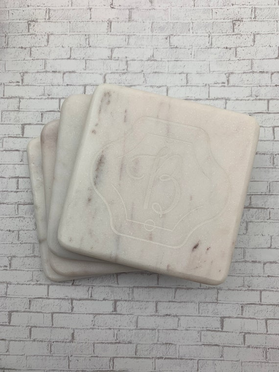 Personalized White Marble Coasters, Engraved Custom White Marble Coasters