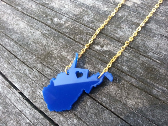"""Personalized! WVU """"Heart over Morgantown, West Virginia"""" necklace"""