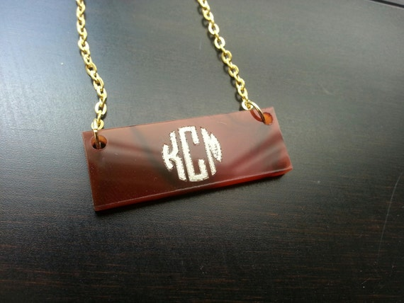 Monogram Nameplate Necklace with Silver or Gold Embellishment - with gift box!