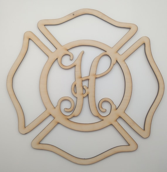Firefighter Single Monogram Wood Cut Out - Fireman