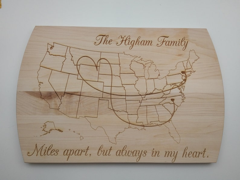 Personalized Family Wood Cutting Board Miles apart but image 0