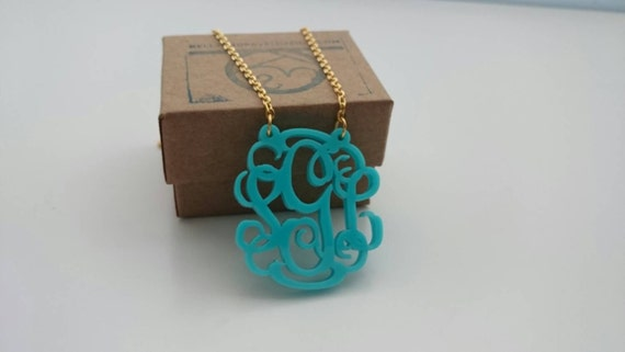"1.5"" Monogram Acrylic Cutout Necklace with Vine or Circle Font"