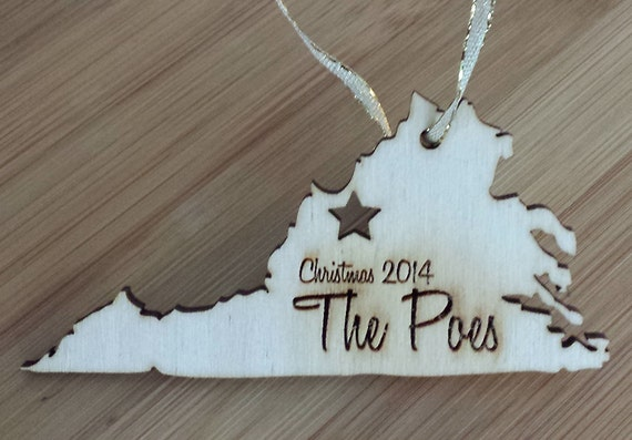 Personalized State Christmas Ornament: Engraved Birch Wood