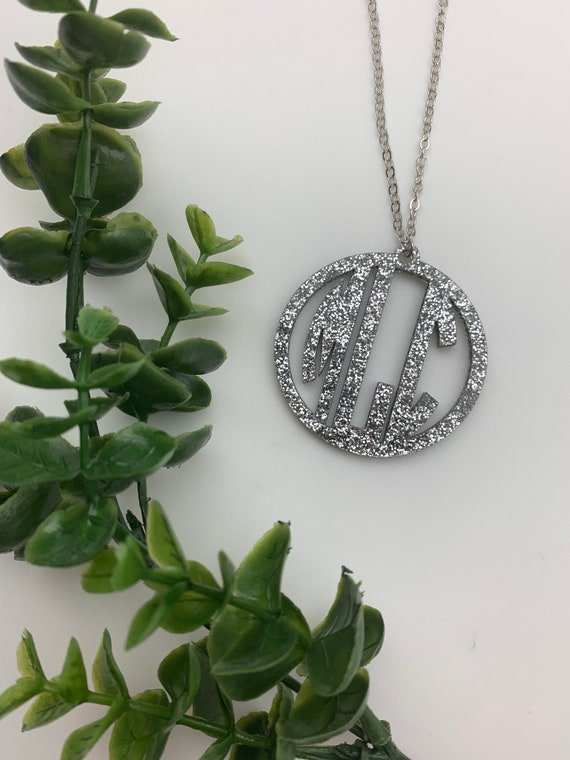Monogram Acrylic Necklace with and extra long chain