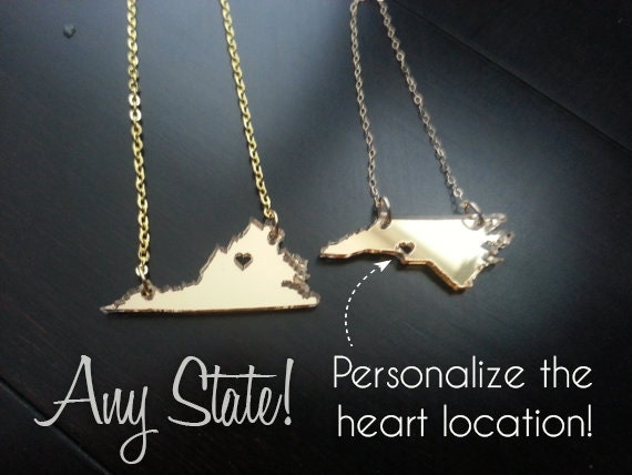 Mini Acrylic State Cutout Necklace North Carolina or Any State