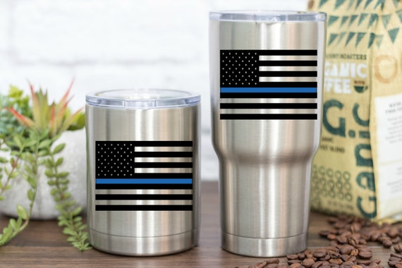Police Vinyl - Thin Blue Line American Flag - Perfect for your car, tumber, waterbottle, laptop, tablet, notebook and more!