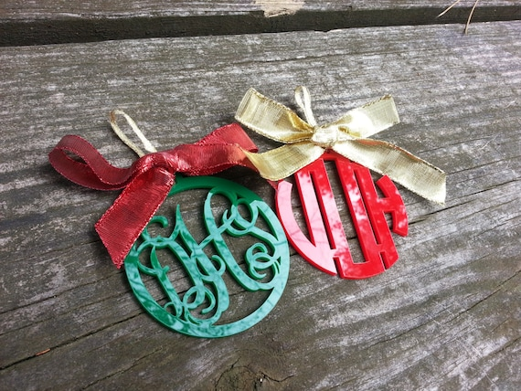 Monogram Acrylic Ornaments — Script or Circle Font