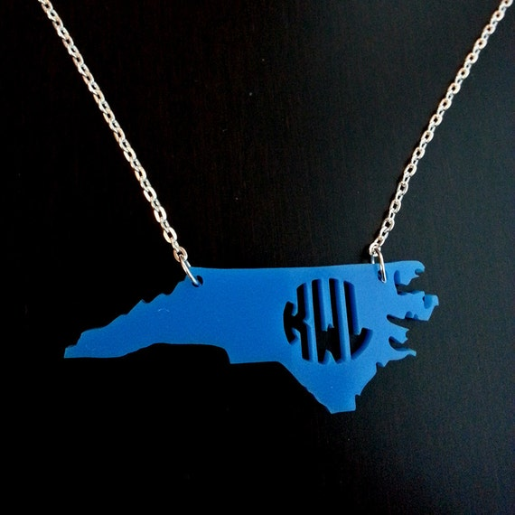 Personalized Monogram inside State Necklace