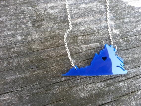 Personalized! University of Virginia Necklace Heart over Charlottesville, VA