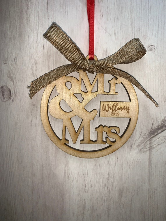 Just Married Personalized Christmas Ornament- Newlyweds, Wedding Gift, Wedding Ornament