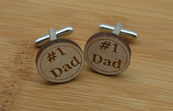 Father's Day '#1 Dad' Personalized Engraved Wood Cuff Links - with gift box