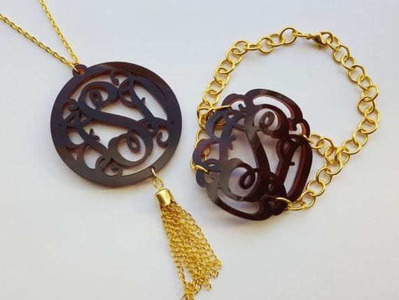 2 Piece Gift Set: Large Vine Monogram Bracelet and Tassel Monogram