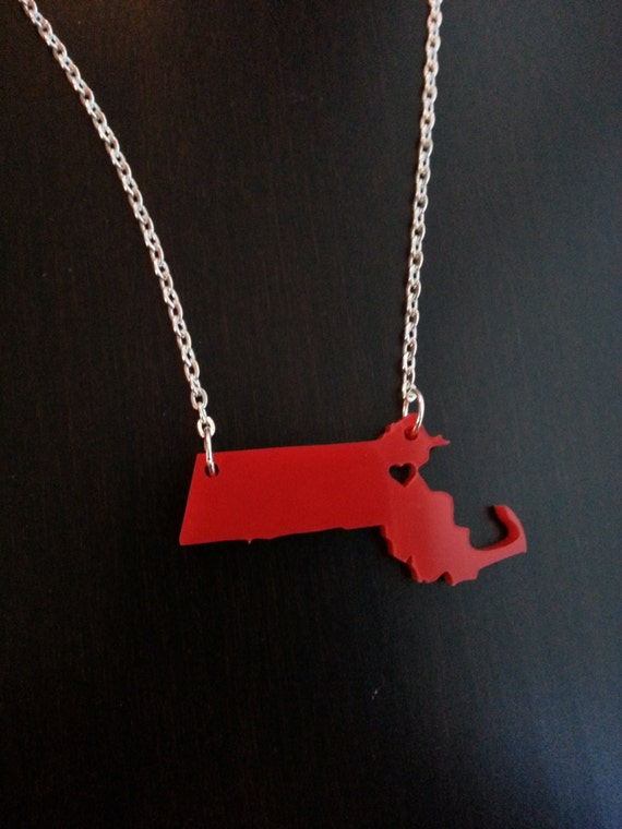 Personalized!  Acrylic State Cutout Necklace - massachusetts or any state