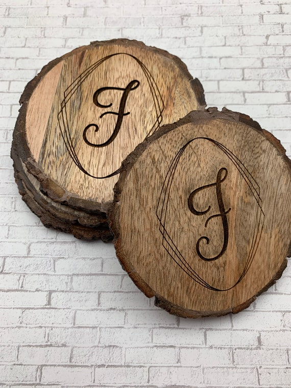 Personalized Wood Coasters, Cicle Engraved Custom Wood Coasters
