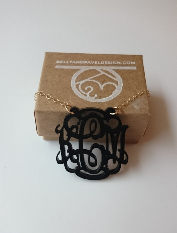 """1.5"""" Monogram Acrylic Necklace with Vine or Circle Font - with gift box!"""