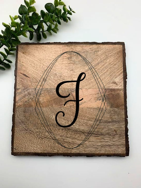 Personalized Wood Trivet, Square Engraved Custom Wood Trivet