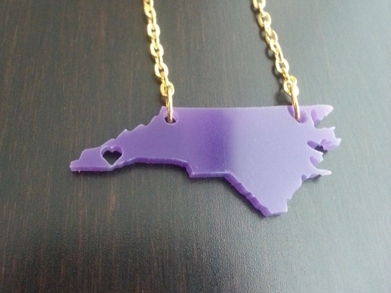 Personalized Western Carolina Necklace Heart over Cullowhee, North Carolina (or any city/state!)