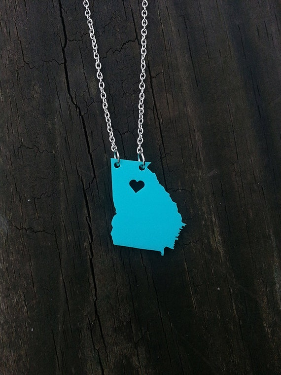 Personalized!  Acrylic State Cutout Necklace - Georgia or any state
