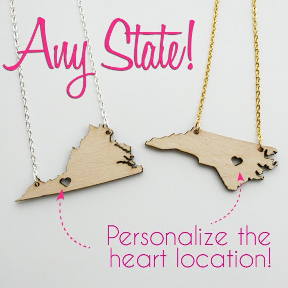 Personalized! Birch Wood State Cutout Necklace (Any State) - with gift box