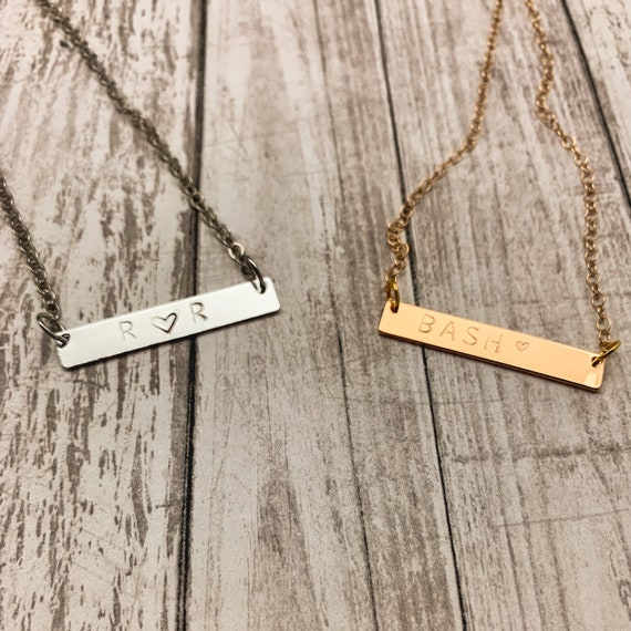 Personalized Metal Stamped Bar Necklace - Custom Bar Necklace - Classic Stamped Necklace