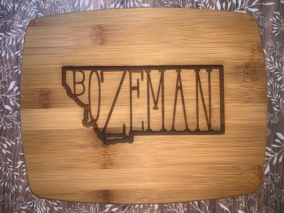 State w/ City Name Inside Wood Cutting Board: Small, Medium, Large, Bamboo and Hardwood