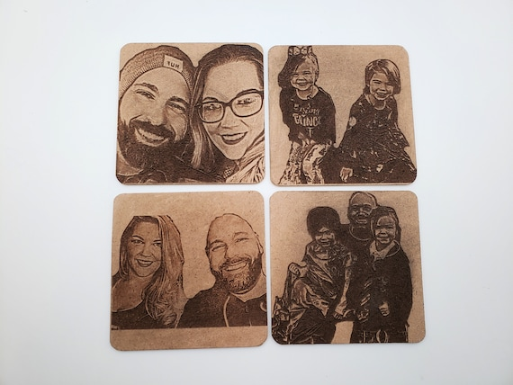 Set of 4 Personalized Wood Coasters, Laser Engraved Coasters, Custom Coasters, Laser Cut Coasters, Photo Coasters, Custom Gift