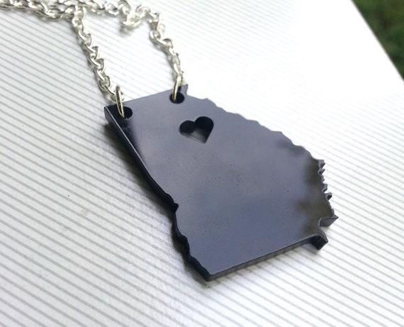 Personalized! Georgia Tech Necklace Heart over Atlanta, Georgia