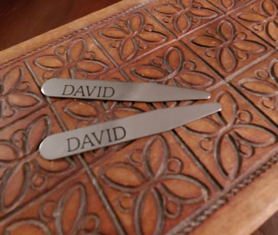 Personalied Collar Stays - Gift for Dad or Grad - Engraved Stainless Steel Collar Stiffener - Groomsman or Groom Gift - Wedding Party Gift