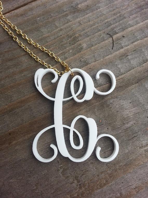 Vine Monogram Single Initial Necklace