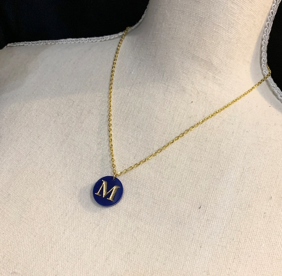 Small Initial Charm Necklace - choose acrylic color and letter
