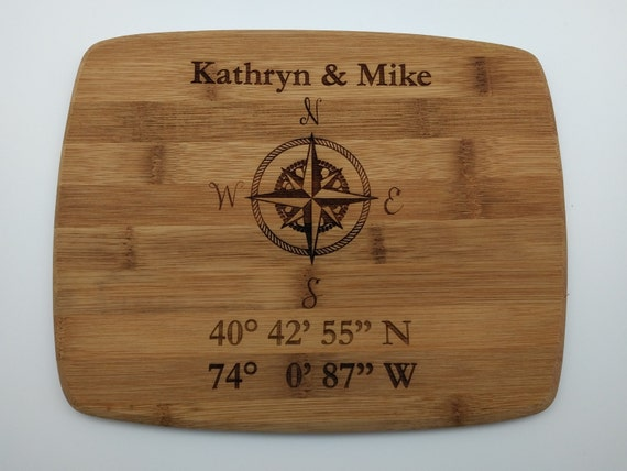 Personalized Coordinate Cutting Board.  Custom Cutting Board: Small, Medium, Large, Bamboo and Hardwood