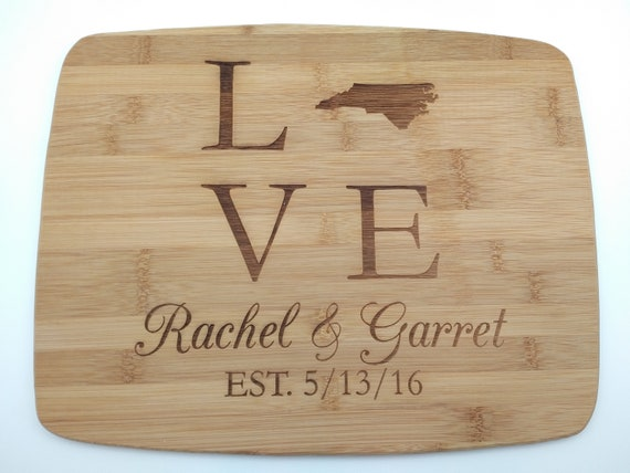 State Love Engraved Cutting Board - Multiple Sizes!  Perfect for a Wedding or Anniversary