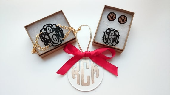 5 Piece Holiday Gift Set: Monogram bracelet, necklace, earrings, and ornament - with gift box