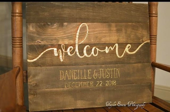 Wood Wedding Sign, Wedding Welcome Sign, Rustic Wedding Decorations, Wedding Decor, Wooden Wedding Welcome Sign