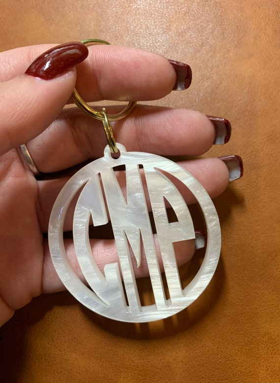 Monogrammed Cutout Keychain, more colors available