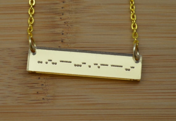 Morse Code (Or Any Other Personalization) Mirror Acrylic Bar Necklace