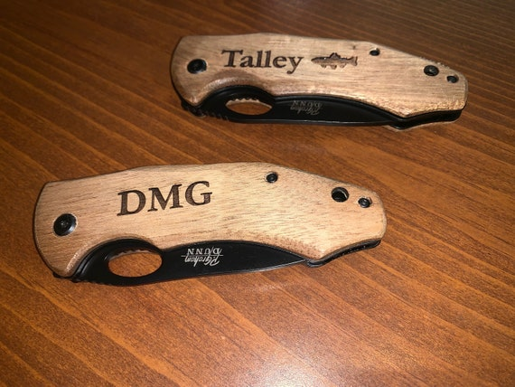 Personalized Laser Engraved Pocket Knife w/clip, #1 Dad, Intials, Groomsman Gift, Father's Day, Buck Knife, Folding Knife, Custom Knives