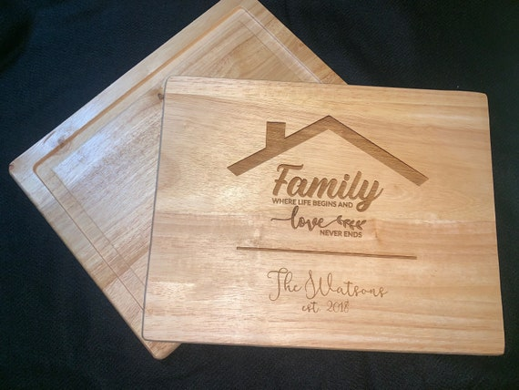 Family Where Life Begins and Never Ends  - Cutting Board - Perfect for Real Estate Agent or REALTOR housewarming gift