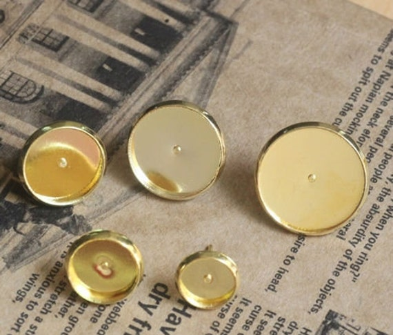 Gold Cabachon Earring Cameo Setting - Perfect for Jewelry Making