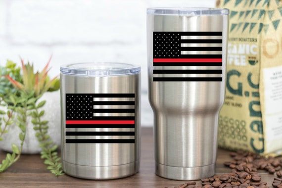 Firefighter Vinyl - Thin Red Line American Flag - Perfect for your car, tumber, waterbottle, laptop, tablet, notebook and more!