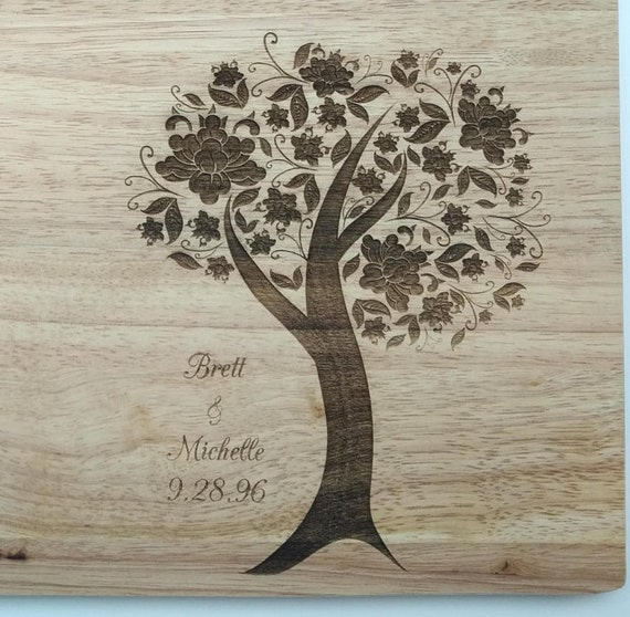 Blooming Tree Wood Cutting Board: Small, Medium, Large, Bamboo and Hardwood  Perfect for Weddings, Anniversaries or just because!
