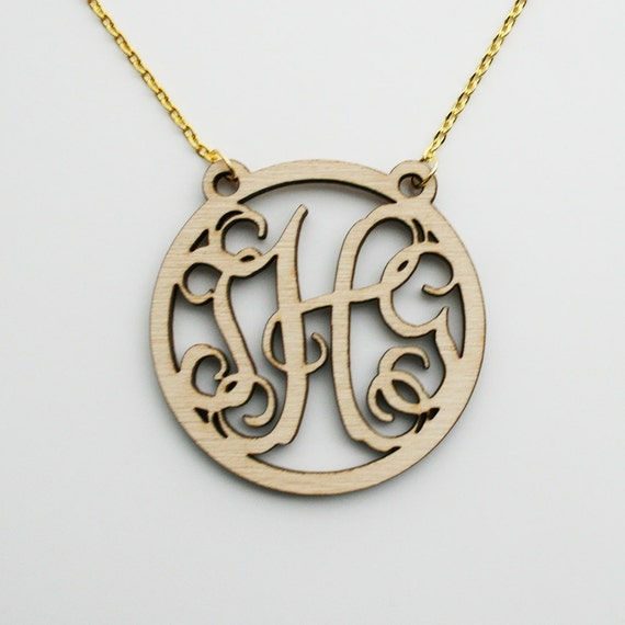 Rustic Wood Monogram Necklace (More Font Options) - with gift box