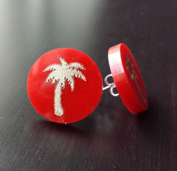 Acrylic Embellished Palm Tree Earrings