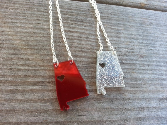 Personalized! Acrylic State Cutout Necklace - Alabama or any state