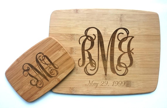 Classic Monogram Cutting Board: Small, Medium, Large, Bamboo and Hardwood
