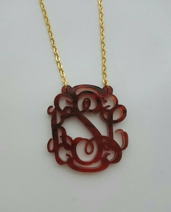 Tortoise Shell Monogram Necklace with script or circle font