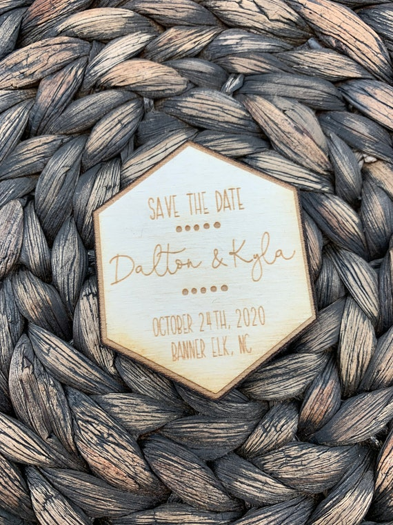 Save The Date Hexagon Magnet