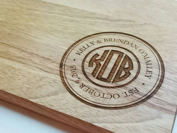 Monogrammed Wood Cutting Board: Small, Medium, Large, Bamboo and Hardwood, circle design