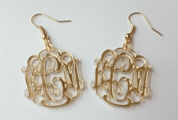 Small Monogram Earrings with Silver or Gold Hardware - with gift box